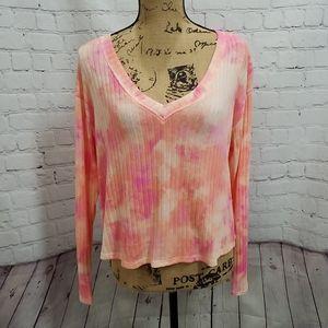 NWT VS Pink Tie Dye V-neck Ribbed Long Sleeve Tee